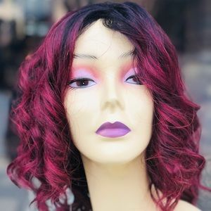 Red wine burgundy Christmas wig short curly Bob